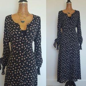 Vintage 90s Floral Button Front Maxi Dress